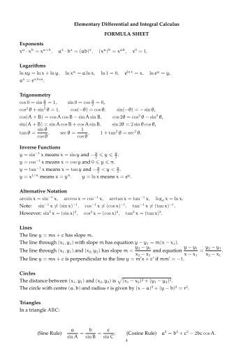 Differential and integral calculus formulas pdf