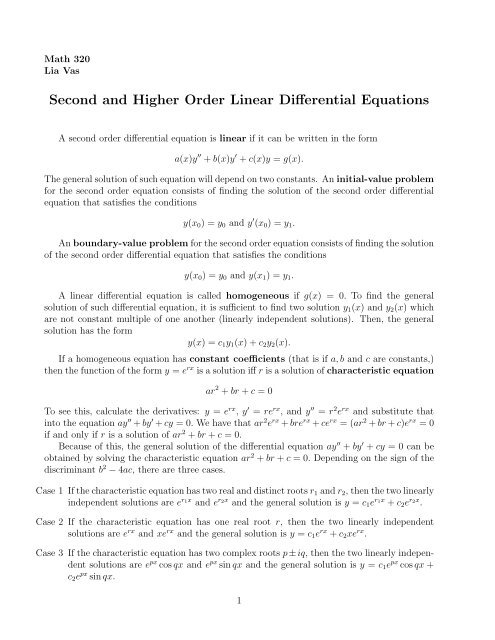 Second and Higher Order Linear Differential Equations