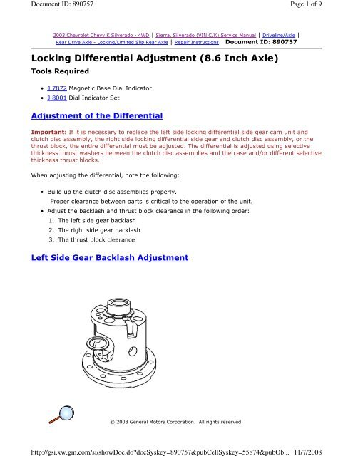 Locking Differential Adjustment (8 6 Inch Axle) - JustAnswer
