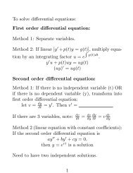 To solve differential equations: First order differential equation ...
