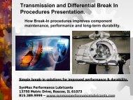 Transmission & Differential Break In Procedure - SynMax ...