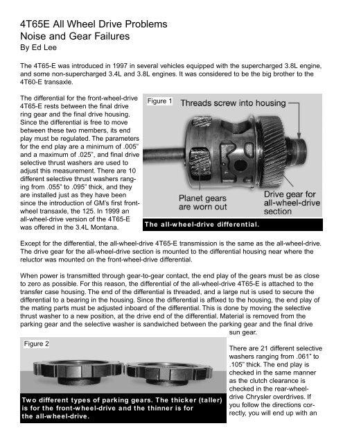 4T65E All Wheel Drive Problems Noise and Gear Failures - Sonnax