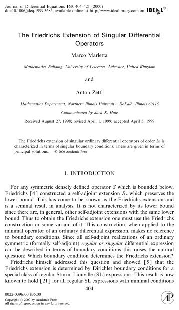 The Friedrichs Extension of Singular Differential Operators