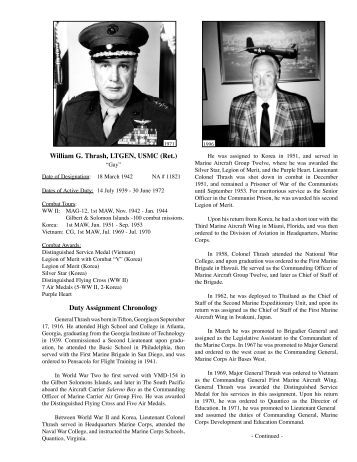 William G. Thrash, LTGEN, USMC (Ret.) Duty Assignment Chronology