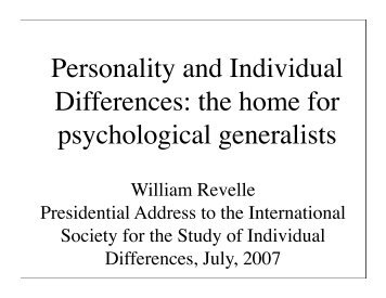 Personality and Individual Differences: the home for psychological ...