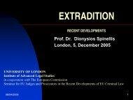 EXTRADITION - Institute of Advanced Legal Studies