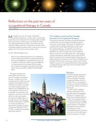 Reflections on the past ten years of occupational therapy in Canada