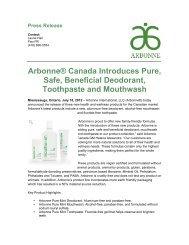 Arbonne® Canada Introduces Pure, Safe, Beneficial Deodorant ...