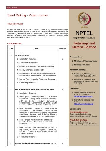 Steel Making - Video course Metallurgy and Material Science - nptel