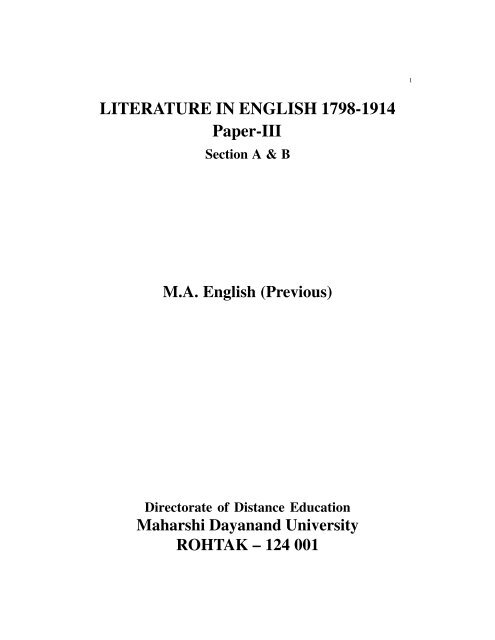 LITERATURE IN ENGLISH 1798-1914 Paper-III - Maharshi