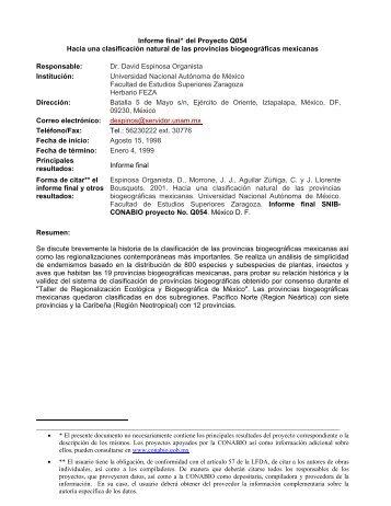 Informe final* del Proyecto Q054 Hacia una clasificación ... - Conabio