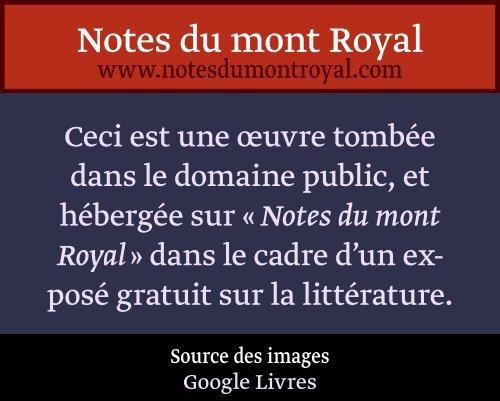 PRÉFACE. - Notes du mont Royal