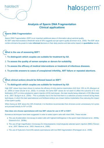Analysis of Sperm DNA Fragmentation Clinical ... - Halotech DNA