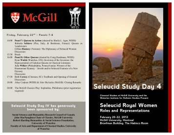Seleucid Study Day 4 - McGill University