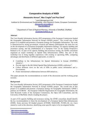 Comparative Analysis of NSDI - EC GI & GIS Portal