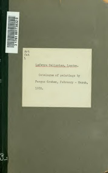 Catalogue of paintings by Fergus Graham, February-March, 1935