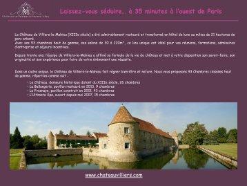 Télécharger la brochure Séminaires (PDF) - Château de Villiers Le ...