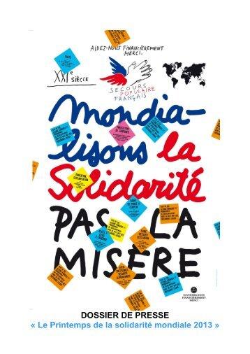 DOSSIER DE PRESSE « Le Printemps de la solidarité mondiale 2013 »