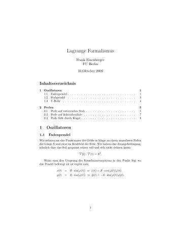 Lagrange Formalismus - Berlin