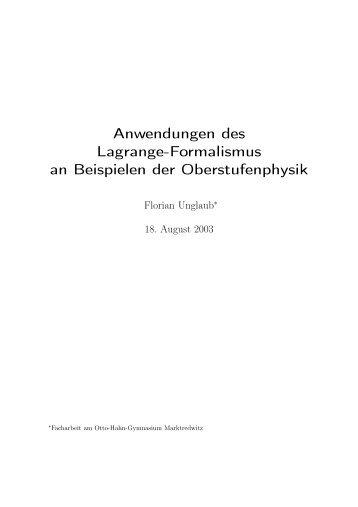Anwendungen des Lagrange-Formalismus an ... - GSI - Theory