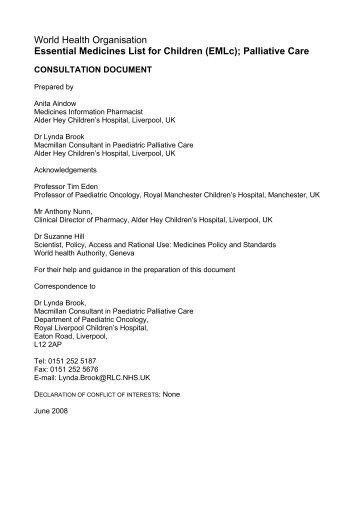 World Health Organisation Essential Medicines List for Children ...