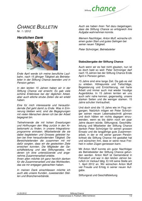 CHANCE BULLETIN - Stiftung Chance