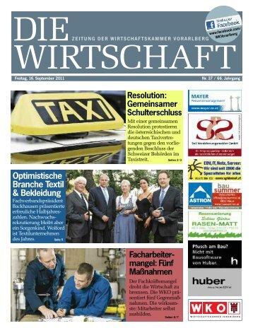 Die Wirtschaft Nr. 37 vom 16. September 2011