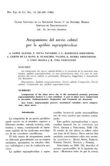 Atrapamiento del nervIO cubital por la apófisis supraepitroclear