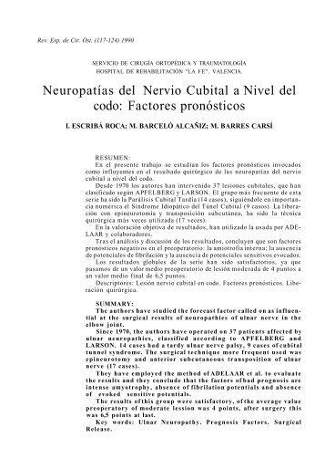 Neuropatías del Nervio Cubital a Nivel del codo: Factores pronósticos
