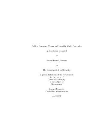 Cubical Homotopy Theory and Monoidal Model Categories A ...