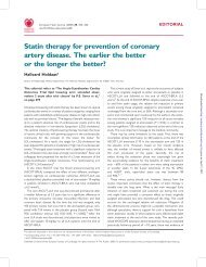 Statin therapy for prevention of coronary artery disease. The earlier ...