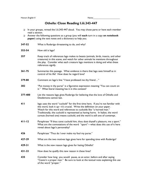 Close Reading-Act One