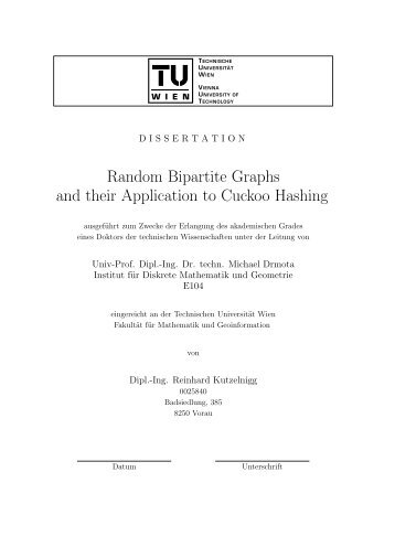 Random Bipartite Graphs and their Application to Cuckoo Hashing