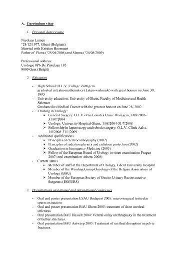 vita resume and personal statement