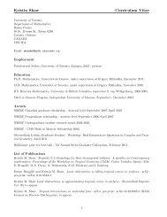 Kristin Shaw Curriculum Vitae - Department of Mathematics ...