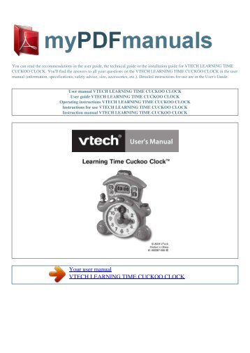 User manual VTECH LEARNING TIME CUCKOO CLOCK - MY PDF ...
