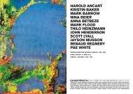 Harold aNCarT KrisTiN BaKEr MarK BarroW NiNa ... - Galerie Perrotin