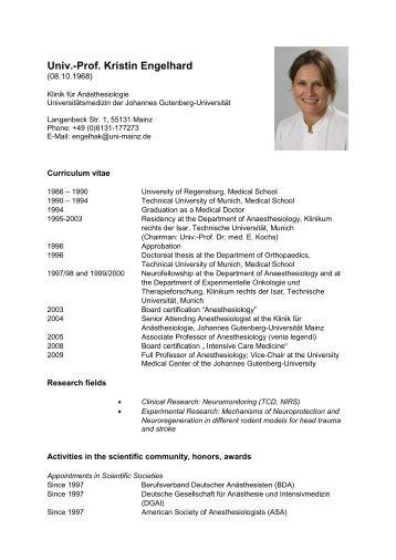 Prof. Kristin Engelhard - FTN - Johannes Gutenberg-Universität Mainz