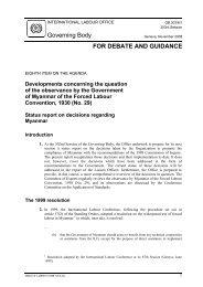 Developments concerning the - International Labour Organization