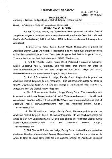 Transfer and postings of District Judges - The Kerala High Court