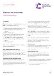 Breast Cancer in Men (CRUK 5 pages