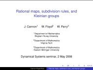 Rational maps, subdivision rules, and Kleinian groups - Virginia Tech