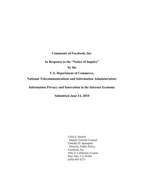 """Comments of Facebook, Inc  In Response to the """"Notice of Inquiry"""