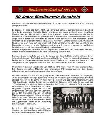 50 Jahre Musikverein Bescheid