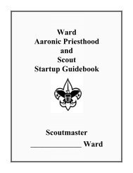 Ward Aaronic Priesthood and Scout Startup Guidebook ... - Mormon