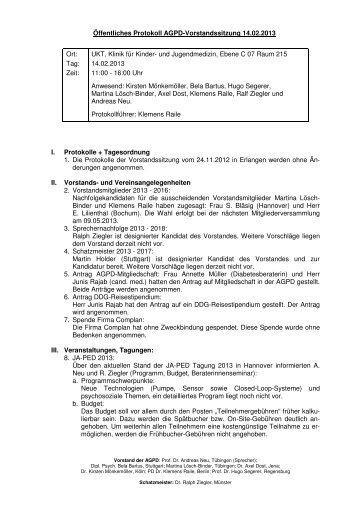 Protokoll Vorstandssitzung vom 14.02.2013 - AGPD