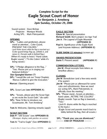 Troop 1 Court of Honor Checklist/Timeline