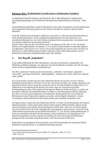 Klemens Betz: Katholizität in ... - ARGE Oekumene