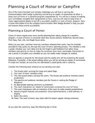 Planning a Court of Honor or Campfire - Boy Scout Troop 195