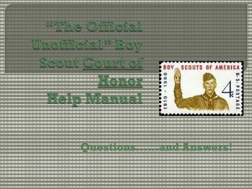 """The Official Unofficial"" Boy Scout Court of Honor"" Help Manual"